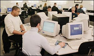 Students using the internet at a university
