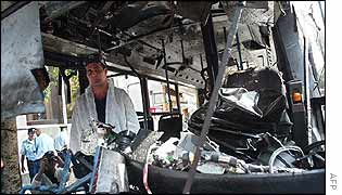 Interior of wrecked bus in Tel Aviv