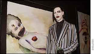 Marilyn Manson shows off his paintings in Hollywood