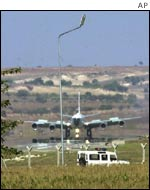 A US Air Force plane lands at the Incirlik air base in southern Turkey