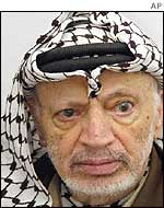 Yasser Arafat in his office on Friday