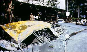 Debris left by a bomb blast in 1993