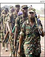 Rwandan troops leaving Kindu