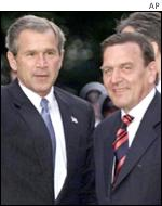 George Bush meets Gerhard Schroeder on a visit to Germany