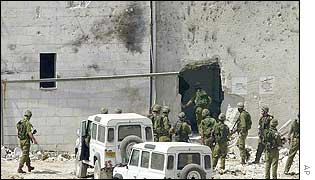 Israeli troops enter the main office building