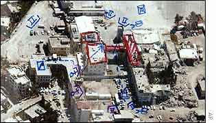 An undated photo released by Israel shows Mr Arafat's office shaded in red and possible army positions in blue