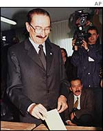 Turkish Prime Minister Bulent Ecevit voting in a previous election