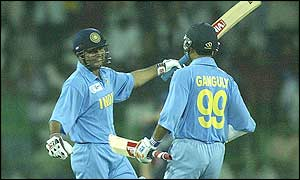 Virender Sehwag celebrates with Sourav Ganguly