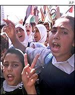 Palestinian girls protest