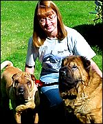 Susan James with Molly and Rocky
