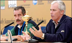 Sam Torrance and Curtis Strange meet at a press conference on Monday