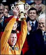 Nick Farr-Jones lifts the World Cup