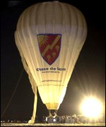 The balloon prepares for take-off