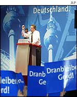 Gerhard Schroeder at election rally in Hanover