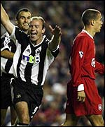 Alan Shearer scores against Newcastle this season