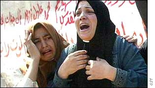 Palestinian women mourn Ashraf Zwayed, one of those killed