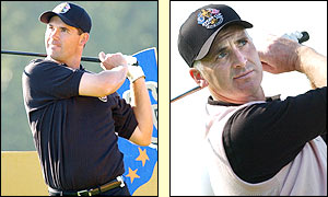 Ireland's Padraig Harrington and Phillip Price get into the swing of things