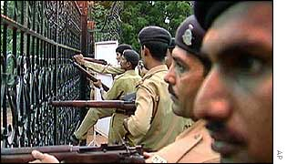 Indian security forces besiege the temple complex