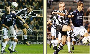 Shearer and Bellamy both have shots denied as the tension increases in the second-half