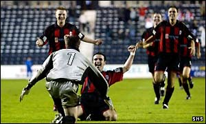 Airdrie United celebrate their famous victory