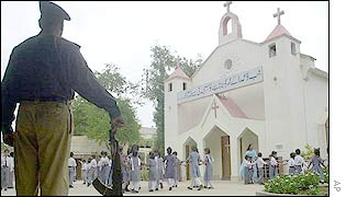 Karachi policeman guard the Christchurch missionary school in Karachi