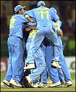 The Indian team mob Virender Sehwag