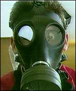 Gas mask wearer