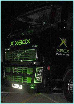 Even the trucks they used to take the equipment to Spain couldn't escape the man with his Xbox stickers