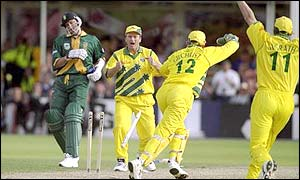 Allan Donald is run out to give Australia victory in the 1999 World Cup semi