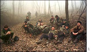 Rebels resting in forest