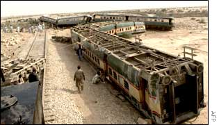 The wreckage of the crashed Pakistani train