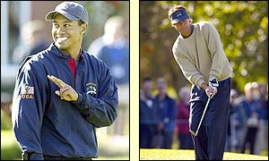 Tiger Woods and Paul Azinger enjoy their final practice session