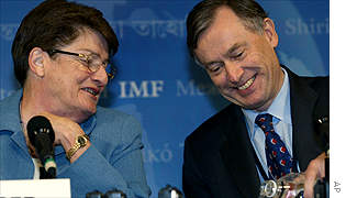 IMF Deputy Managing Director Anne Krueger and Managing Directory Horst Koehler ahead of Thursday's press conference.