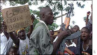 Rebels and their supporters in Bouake