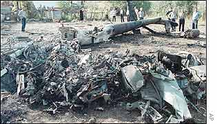 Wreckage of the Russian Mi-24 military helicopter shot down in the battle