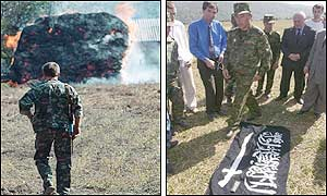 Left picture: A Russian soldier heads to a burning haystack (AP). Right picture: Russian officials look at a flag seized from the rebels. (AFP)