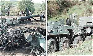 Left picture: wreckage of a Russian MI 24 helicopter. Right picture: a destroyed Russian  APC. (AP/AP)