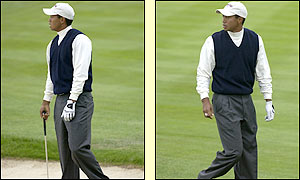 Tiger Woods glares at a spectator after he is heckled at the first, but the world number one is unable to produce his very best form