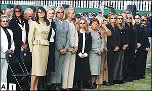 The European wives line up at the opening ceremony