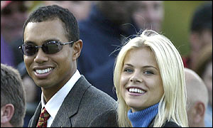 Tigers Woods accompanies his Swedish girlfriend Elin Nordegren