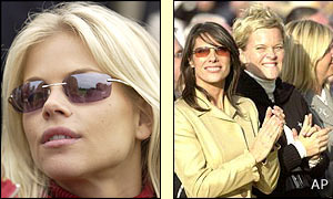Elin Nordegren watches Tiger Woods while Suzanne Torrance applauds with Pernilla Bjorn
