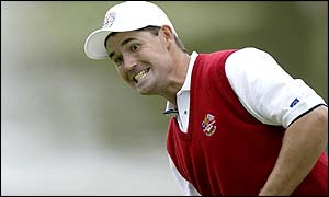 Padraig Harrington after missing his putt on the 18th