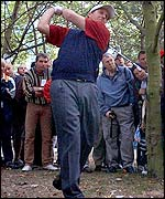 Phil Mickelson hits out after finding the trees on the 17th
