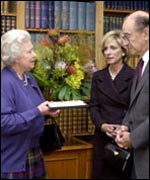 The Queen with Alan Greenspan and wife Andrea Mitchell