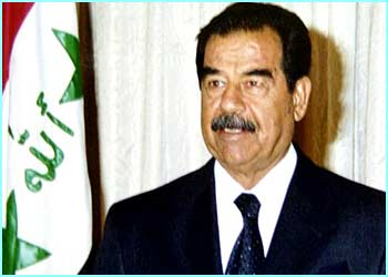 Saddam Hussein is the Iraqi leader. It's thought he's trying to build weapons of mass destruction