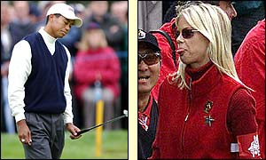 US golfer Tiger Woods failed to impress watching girlfriend Elin Nordegren