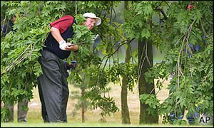 Phil Mickelson hits out of the trees at the third hole