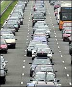 Traffic jam on Britain's M5 motorway