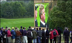 Colin Montgomerie on the TV screen at The Belfry