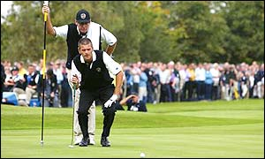 Jesper Parnevik makes his first appearance of the tournament as he teams up with fellow Swede Niclas Fasth